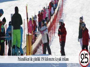 Palandöken'de günlük 150 kilometre kayak imkanı